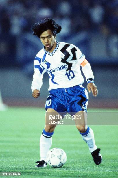 Hiromitsu Isogai of Gamba Osaka in action during the J.League Suntory series match between Sanfrecce Hiroshima and Gamba Osaka at the Hakata-no-Mori...