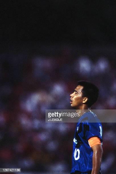 Hiromitsu Isogai of Gamba Osaka is seen during the JLeague Nicos Series match between Urawa Red Diamonds and Gamba Osaka at the Omiya Soccer Stadium...