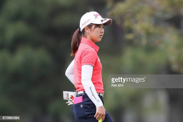 Hiromu Ono looks on on the ninth hole green during the final round of the Panasonic Open Ladies at the Chiba Country Club on April 21 2017 in Noda...