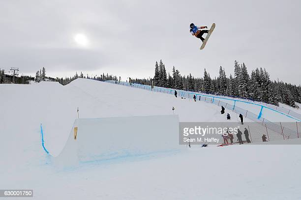 Hirono Asami of Japan competes in the qualifying round of the FIS Snowboard World Cup 2017 in the Ladies' Snowboard Big Air at The Toyota US Grand...