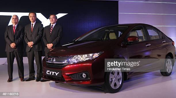 Hironori Kanayama President and CEO of Honda Cars India Ltd HSCI Senior Vice President and Director Raman Kumar Sharma and Yoshiyuki Matsumoto...