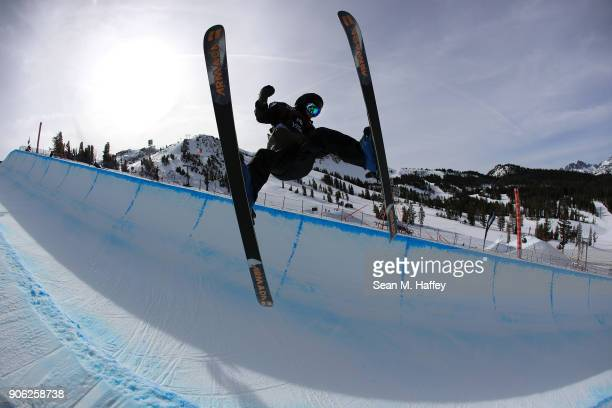 Hiroo Wada of Japan trains prior to the qualifying round of the Men's Ski Halfpipe during the Toyota US Grand Prix on on January 17 2018 in Mammoth...