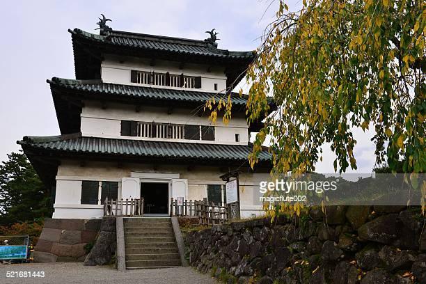 hirosaki castle in autumn, japan - hirosaki castle stock pictures, royalty-free photos & images