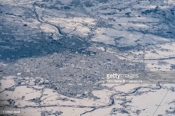 Hirosaki city in Aomori prefecture in Japan daytime aerial view from airplane