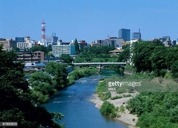 hirose river, sendai, miyagi, japan - miyagi prefecture stock pictures, royalty-free photos & images