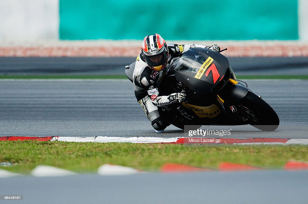 Hiroshi Aoyama of Japan and Interwetten MotoGP Team rounds the bend during the final day of the MotoGP test at Sepang International Circuit, near Kuala Lumpur, Malaysia on February 5, 2010.