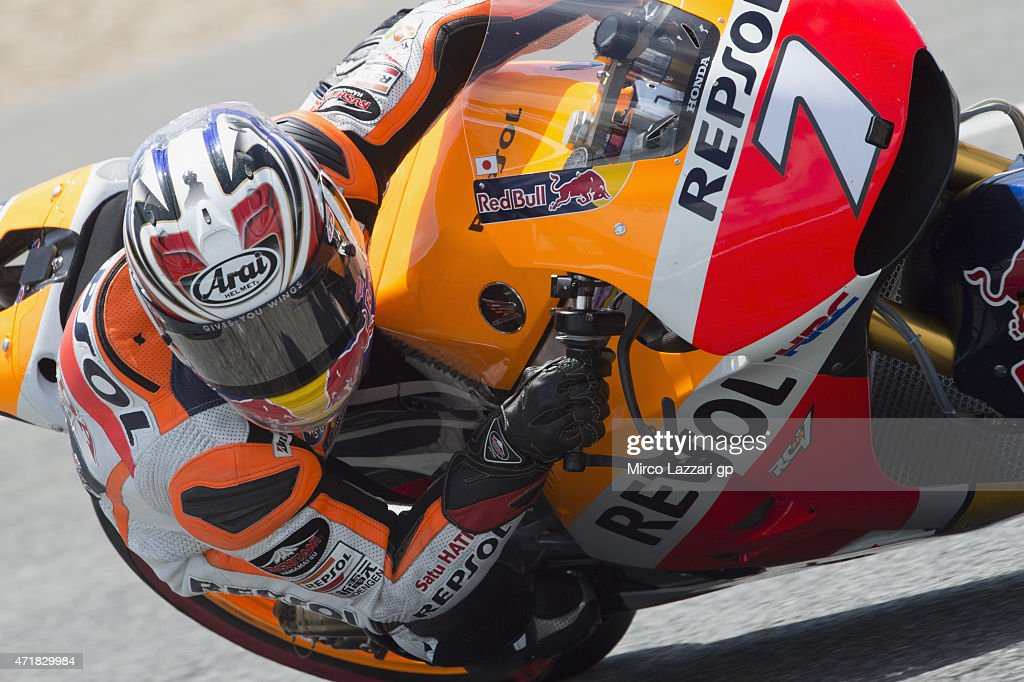 Hiroshi Aoyama of Japan and Repsol Honda Team rounds the bend during the MotoGp of Spain - Free Practice at Circuito de Jerez on May 1, 2015 in Jerez de la Frontera, Spain.