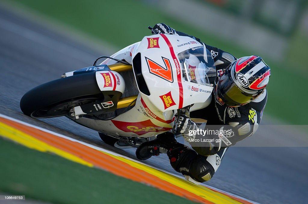 Hiroshi Aoyama of Japan and San Carlo Honda Gresini rounds the bend during the first test of 2011 season at Ricardo Tormo Circuit on November 9, 2010 in Valencia, Spain.