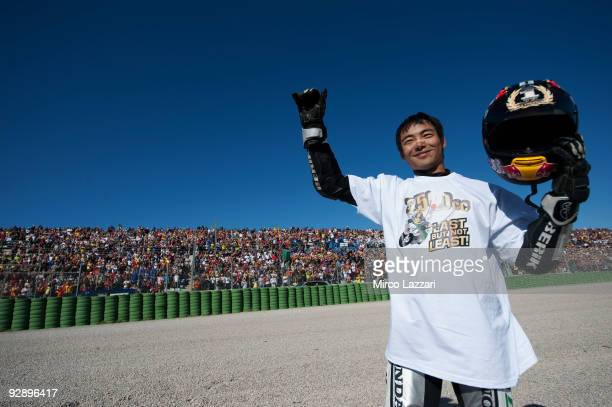 Hiroshi Aoyama of Japan and Scot Racing 250cc celebrates becoming the 250 cc World Champion as part of the MotoGP of Valencia at the Valencia Circuit...
