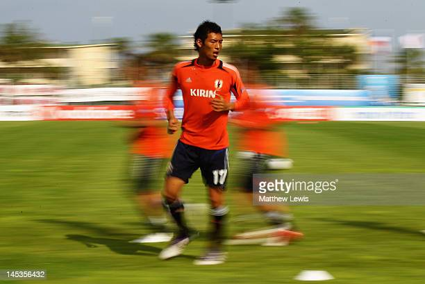 Hiroshi Ibusuki of Japan warms up ahead of the Toulon Tournament Group A match between Japan and Egypt at Le Grand Stade on May 27, 2012 in Le...