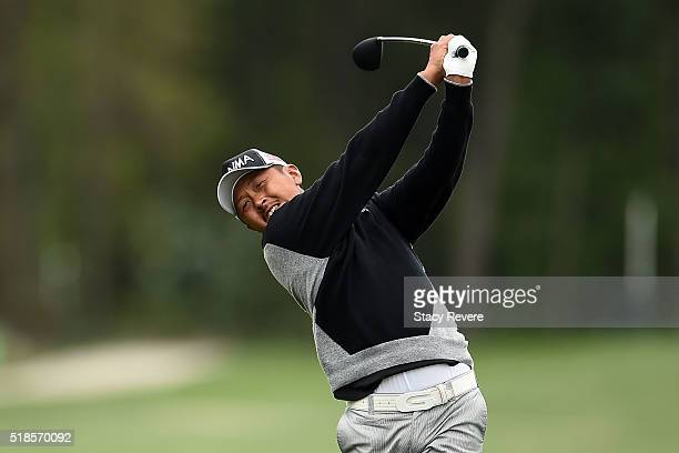 Hiroshi Iwata of Japan hits his approach shot on the eighth hole during the second round of the Shell Houston Open at the Golf Club of Houston on...