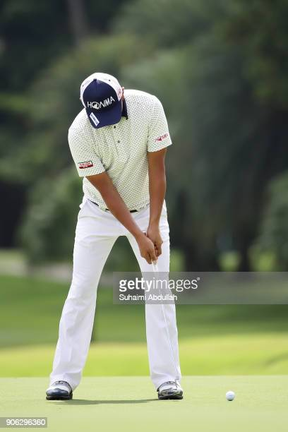 Hiroshi Iwata of japan in action on day one of the Singapore Open at Sentosa Golf Club on January 18 2018 in Singapore