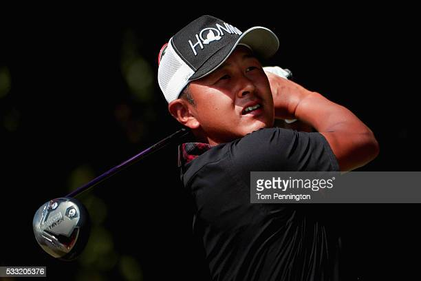 Hiroshi Iwata of Japan plays his shot from the first tee during Round Three at the AT&T Byron Nelson on May 21, 2016 in Irving, Texas.