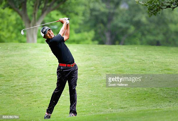 Hiroshi Iwata plays his second shot on the 15th hole during Round Three at the AT&T Byron Nelson on May 21, 2016 in Irving, Texas.
