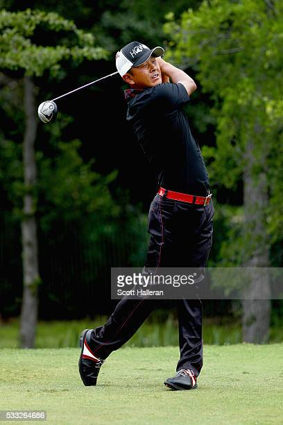 Hiroshi Iwata plays his shot from the 12th tee during Round Three at the AT&T Byron Nelson on May 21, 2016 in Irving, Texas.