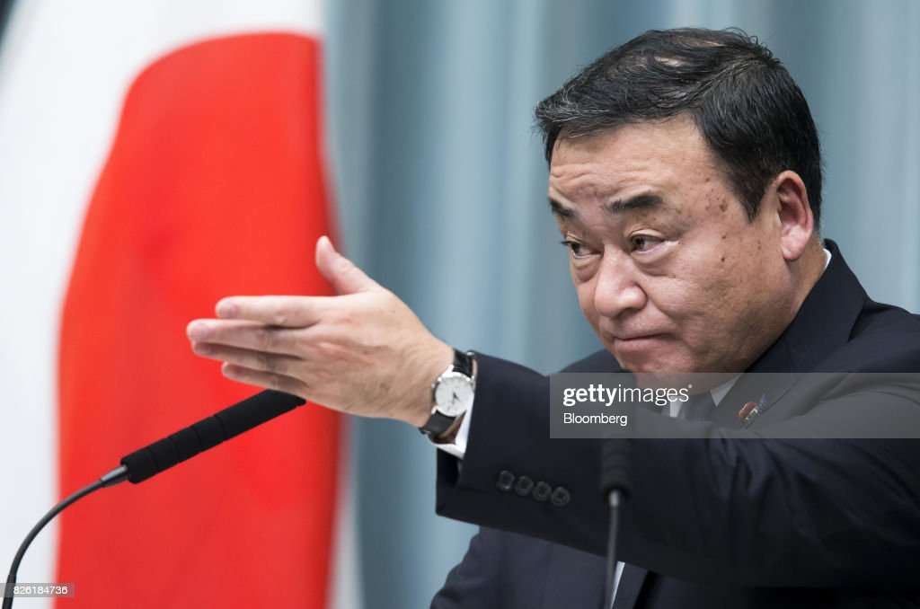 Hiroshi Kajiyama, newly-appointed regional revitalization minister of Japan, speaks during a news conference at the Prime Minister's official residence in Tokyo, Japan, on Thursday, Aug. 3, 2017. Japanese Prime Minister Shinzo Abe reshuffled his ministers and party officials after a slump in popularity and a humiliating local election defeat. Photographer: Tomohiro Ohsumi/Bloomberg via Getty Images