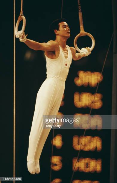 Hiroshi Kajiyama of Japan performs during the Men's Rings event on 28th October 1978 during the World Artistic Gymnastics Championships at the Palace...