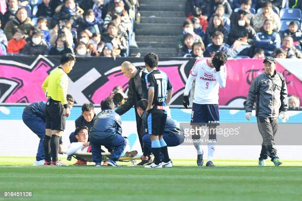 Hiroshi Kiyotake and Kenyu Sugimoto of Cerezo Osaka look on after their collision during the Xerox Super Cup match between Kawasaki Frontale and...