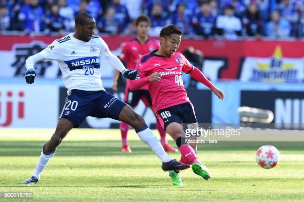 Hiroshi Kiyotake of Cerezo Osaka and Martinus of Yokohama Fmarinos compete for the ball during the 97th All Japan Football Championship final between...