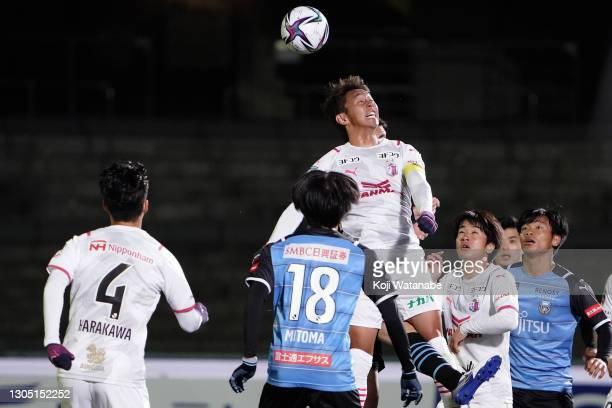 Hiroshi Kiyotake of Cerezo Osaka in action during the J.League Meiji Yasuda J1 match between Kawasaki Frontale and Cerezo Osaka at the Todoroki...