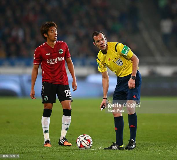 Hiroshi Kiyotake of Hannover 96 during the Bundesliga match between Hannover 96 and Hertha BSC at HDIArena on April 10 2015 in Hanover Germany
