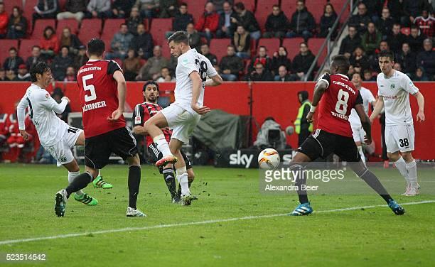 Hiroshi Kiyotake of Hannover 96 scores a goal during the Bundesliga match between FC Ingolstadt and Hannover 96 at Audi Sportpark on April 23 2016 in...