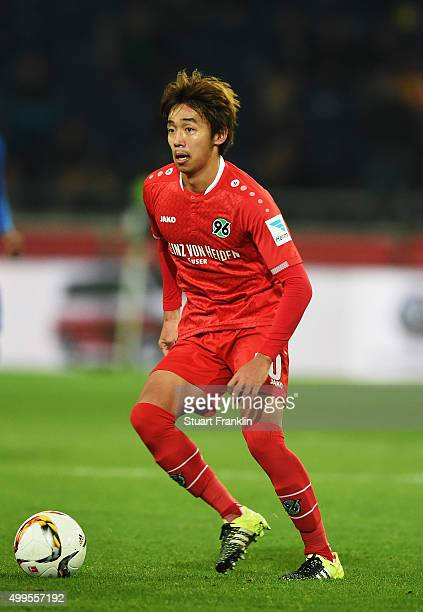 Hiroshi Kiyotake of Hannover in action during the Bundesliga match between Hannover 96 and Hertha BSC at HDIArena on November 6 2015 in Hanover...