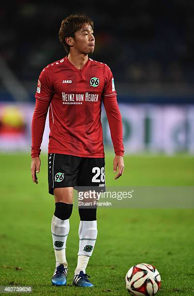 Hiroshi Kiyotake of Hannover in action during the Bunsliga match between Hannover 96 and 1 FSV Mainz 05 at HDIArena on February 3 2015 in Hanover...