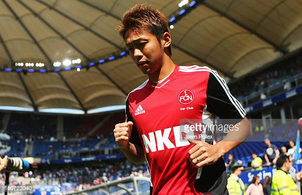Hiroshi Kiyotake of Nuernber is seen prior to the Bundesliga match between Hamburger SV and 1 FC Nuernberg at Imtech Arena on August 25 2012 in...