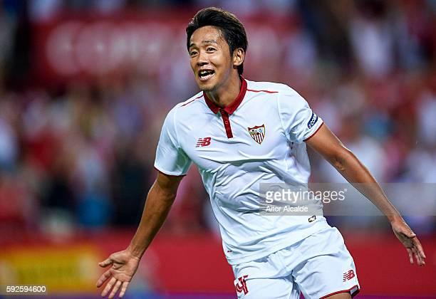 Hiroshi Kiyotake of Sevilla FC celebrates after scoring during the match between Sevilla FC vs RCD Espanyol as part of La Liga at Estadio Ramon...