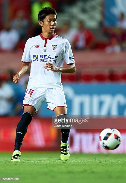 Hiroshi Kiyotake of Sevilla FC in action during the match between Sevilla FC vs FC Barcelona as part of the Spanish Super Cup Final 1st Leg at...