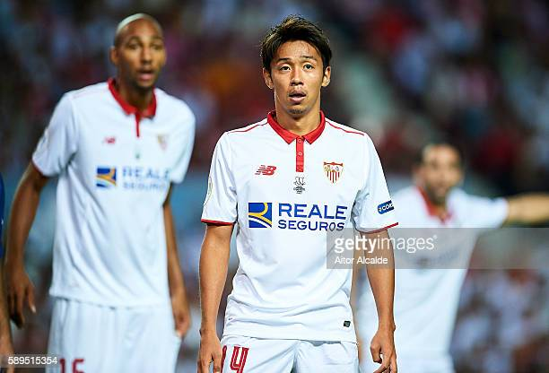 Hiroshi Kiyotake of Sevilla FC looks on during the match between Sevilla FC vs FC Barcelona as part of the Spanish Super Cup Final 1st Leg at Estadio...