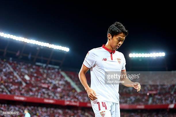 Hiroshi Kiyotake of Sevilla FC looks on during the match between Sevilla FC vs RCD Espanyol as part of La Liga at Estadio Ramon Sanchez Pizjuan on...
