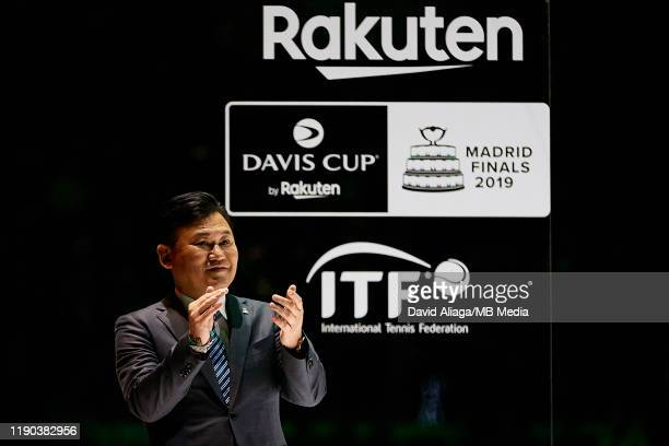 Hiroshi Mikitani CEO of Rakuten applauds following the Final between Spain and Canada during Day Seven of the 2019 Davis Cup at La Caja Magica on...