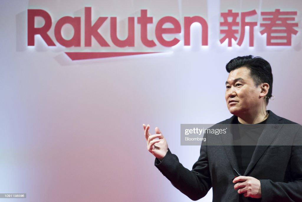 Rakuten Inc. Cafe and CEO Hiroshi Mikitani At Company's New Year Conference : News Photo