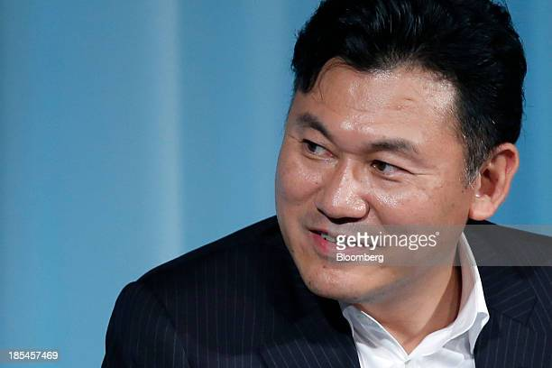 Hiroshi Mikitani, chairman and chief executive officer of Rakuten Inc., attends the 15th Nikkei Global Management Forum in Tokyo, Japan, on Monday,...