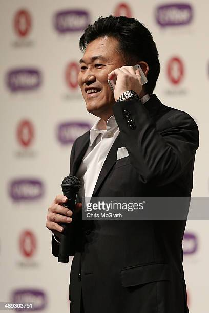 Hiroshi Mikitani chairman and chief executive officer of Rakuten Inc makes a Viber call to Talmon Marco chief executive officer of Viber during the...