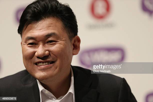 Hiroshi Mikitani, chairman and chief executive officer of Rakuten, Inc. Speaks during a press conference announcing the earning results for Q4 of...