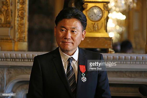 Hiroshi Mikitani chairman and chief executive officer of Rakuten Inc receives Legion Of Honor Decoration at the French Ministry of Foreign Affairs on...