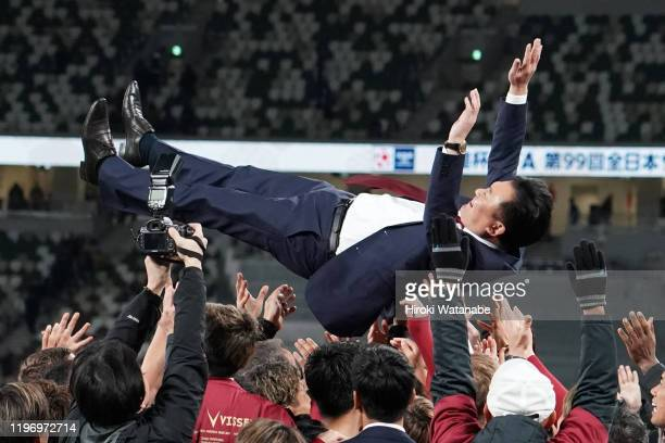 Hiroshi Mikitani president is lifted into the air by players of Vissel Kobe during the 99th Emperor's Cup final between Vissel Kobe and Kashima...