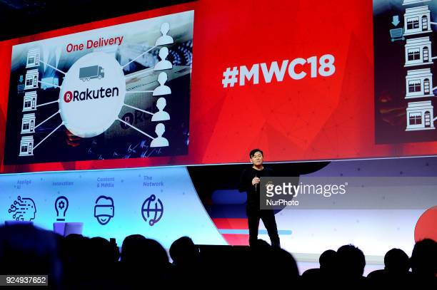 Hiroshi Mikitani, Rakuten Inc. Founder, Chairman and CEO, speaking during The Foundations of the Digital Economy conference, at Mobile World Congress...