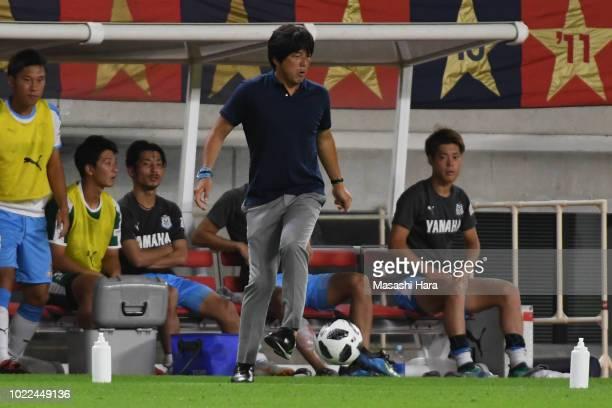 Hiroshi Nanami coach of Jubilo Iwata kicks the ball during the JLeague J1 match between Kashima Antlers and Jubilo Iwata at Kashima Soccer Stadium on...