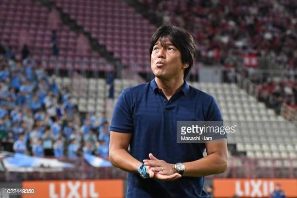 Hiroshi Nanami coach of Jubilo Iwata looks on prior to the JLeague J1 match between Kashima Antlers and Jubilo Iwata at Kashima Soccer Stadium on...