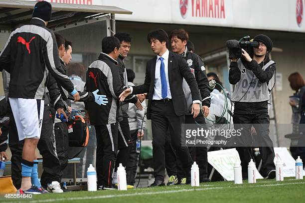 Hiroshi Nanami manager of Jubilo Iwata celebrates their 1st win at the opening match during the JLeague second division match between Jubilo Iwata...