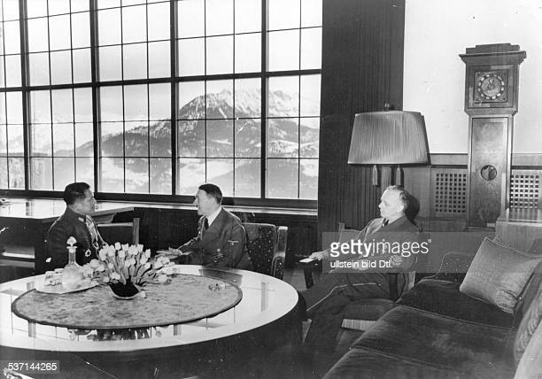 Hiroshi Oshima General Diplomat Japan talking with Adolf Hitler on the 'Berghof' near Berchtesgaden after he handed over his letter of appointment as...