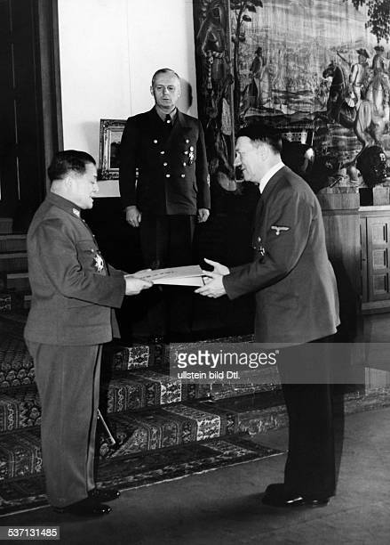 Hiroshi, Oshima - General, Diplomat, Japan, , - with Adolf Hitler on the 'Berghof' near Berchtesgaden handing over his letter of appointment as new...