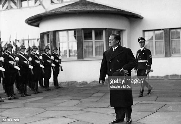 Hiroshi Oshima General Diplomat Japan*19041886 taking the salute at the 'Berghof' near Berchtesgaden on the occasion of handing over the letter of...