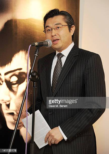 Hiroshi Suzuki speaks at a private view of 'Kabuki One Year On' a photographic exhibition by Frederic Aranda to benefit the Japan Society Tohou...