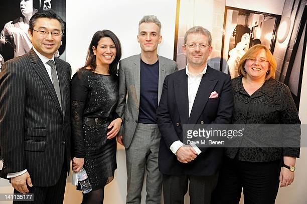 Hiroshi Suzuki Sue Walter Frederic Aranda Michael Spencer and Heidi Potter attend a private view of 'Kabuki One Year On' a photographic exhibition by...