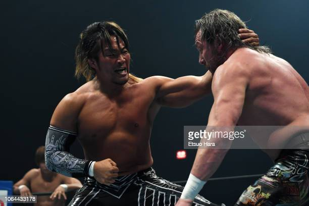 Hiroshi Tanahashi and Kenny Omega compete in the tag match during the Power Struggle Super Jr Tag League 2018 at Edion Arena Osaka on November 03...